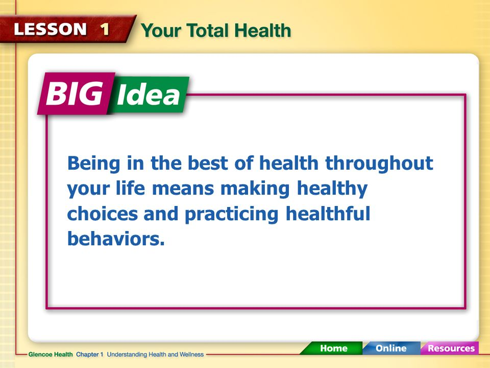 Your Total Health (1:57) Click here to launch video Click here to download print activity