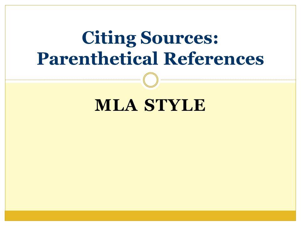 references mla