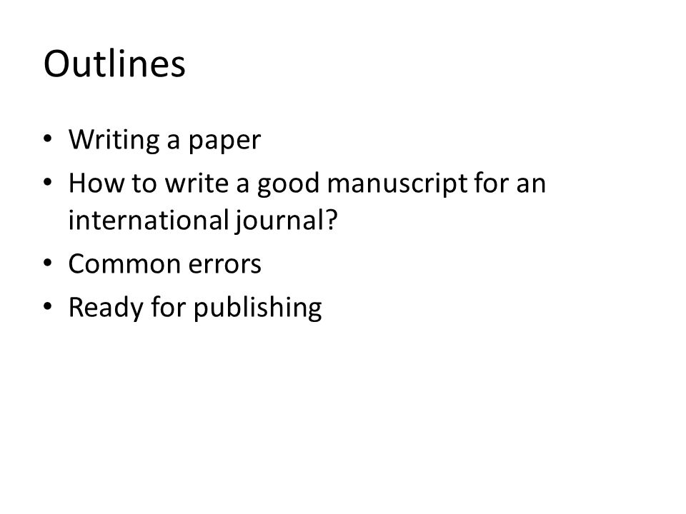 How to write a paper presentation