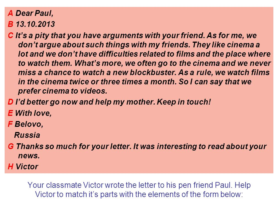 How to write personal letter can you write a personal letter in your classmate victor wrote the letter to his pen friend paul thecheapjerseys Choice Image