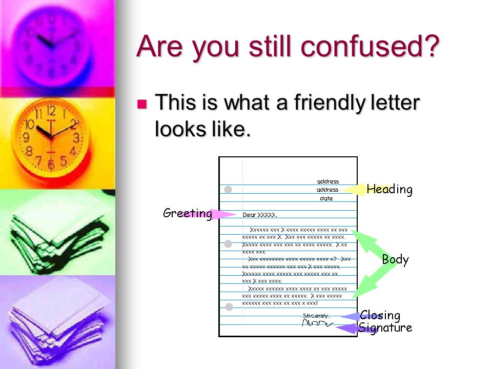 Are you still confused. This is what a friendly letter looks like.