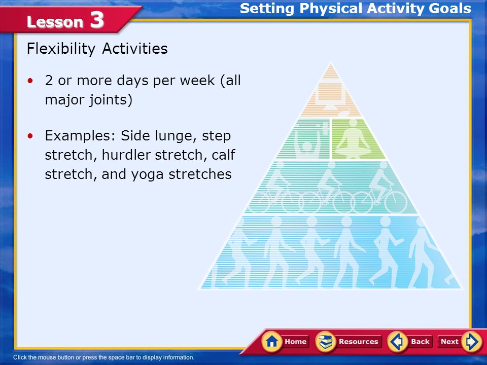 Lesson 3 Flexibility Activities 2 or more days per week (all major joints) Examples: Side lunge, step stretch, hurdler stretch, calf stretch, and yoga stretches Setting Physical Activity Goals