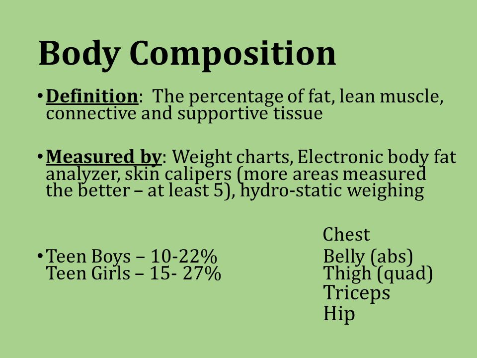 Body Composition Definition: The percentage of fat, lean muscle, connective and supportive tissue Measured by: Weight charts, Electronic body fat analyzer, skin calipers (more areas measured the better – at least 5), hydro-static weighing Chest Teen Boys – 10-22% Belly (abs) Teen Girls – %Thigh (quad) Triceps Hip