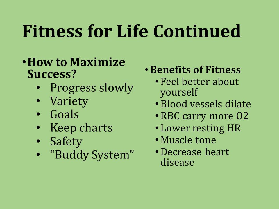 Fitness for Life Continued How to Maximize Success.