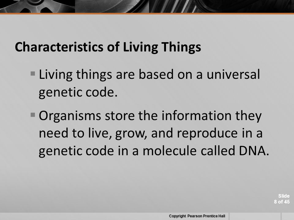 Slide 8 of 45 Characteristics of Living Things  Living things are based on a universal genetic code.