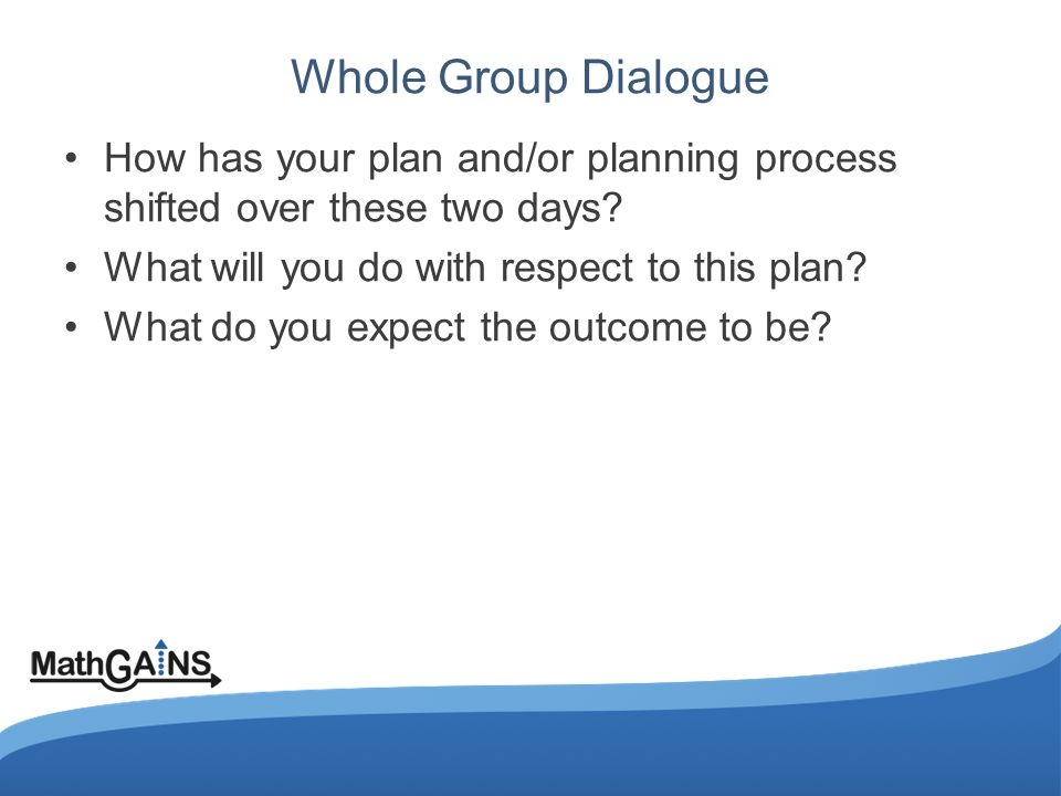 Whole Group Dialogue How has your plan and/or planning process shifted over these two days.