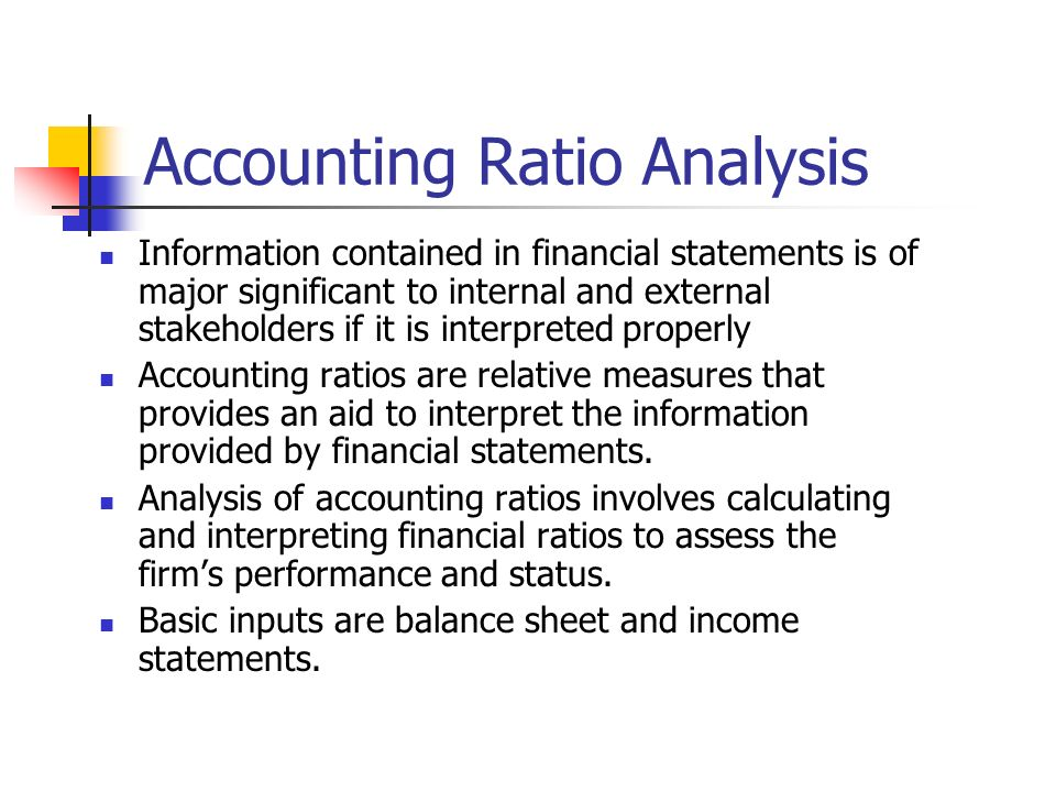 Financial Performance Accounting Ratios Accounting Ratio Analysis