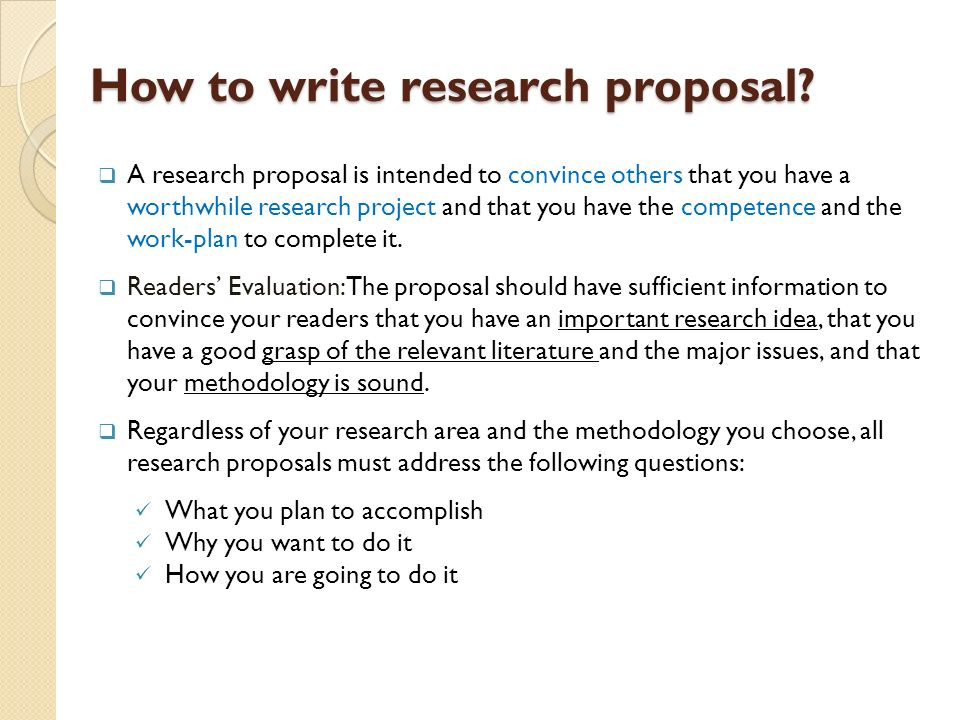 How to write the research proposal