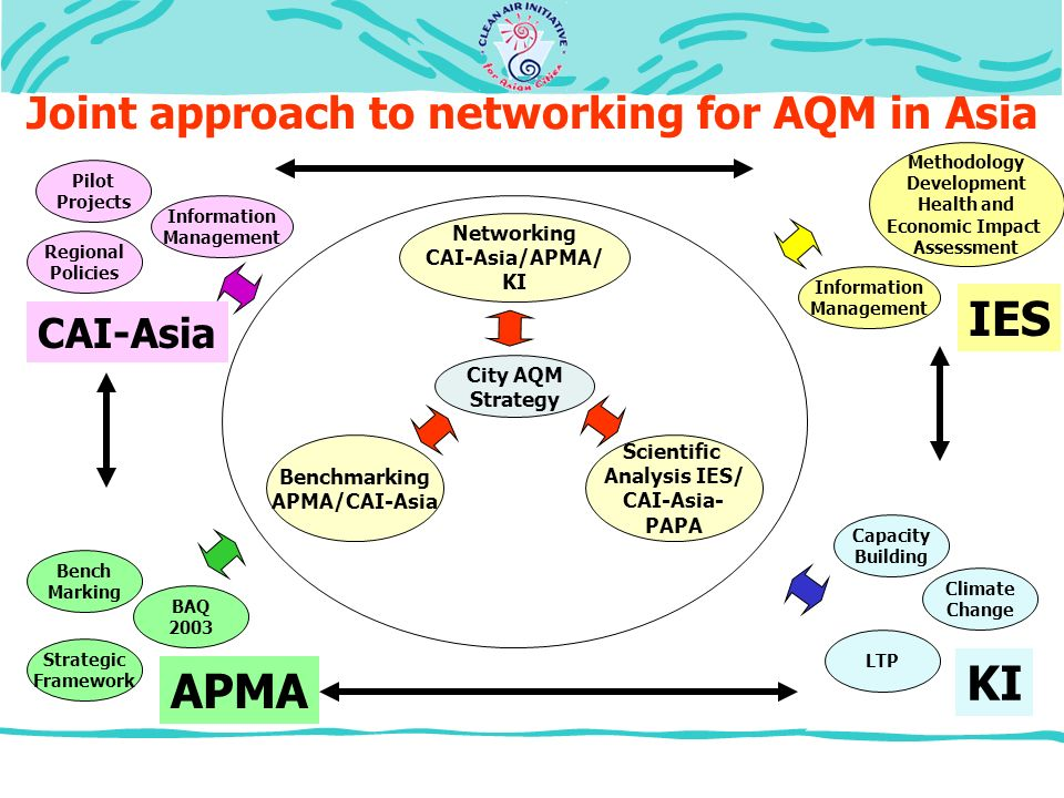 Joint approach to networking for AQM in Asia Networking CAI-Asia/APMA/ KI Benchmarking APMA/CAI-Asia Scientific Analysis IES/ CAI-Asia- PAPA City AQM Strategy Methodology Development Health and Economic Impact Assessment LTP Capacity Building Climate Change Strategic Framework Bench Marking Regional Policies Pilot Projects Information Management KI APMA BAQ 2003 CAI-Asia IES Information Management