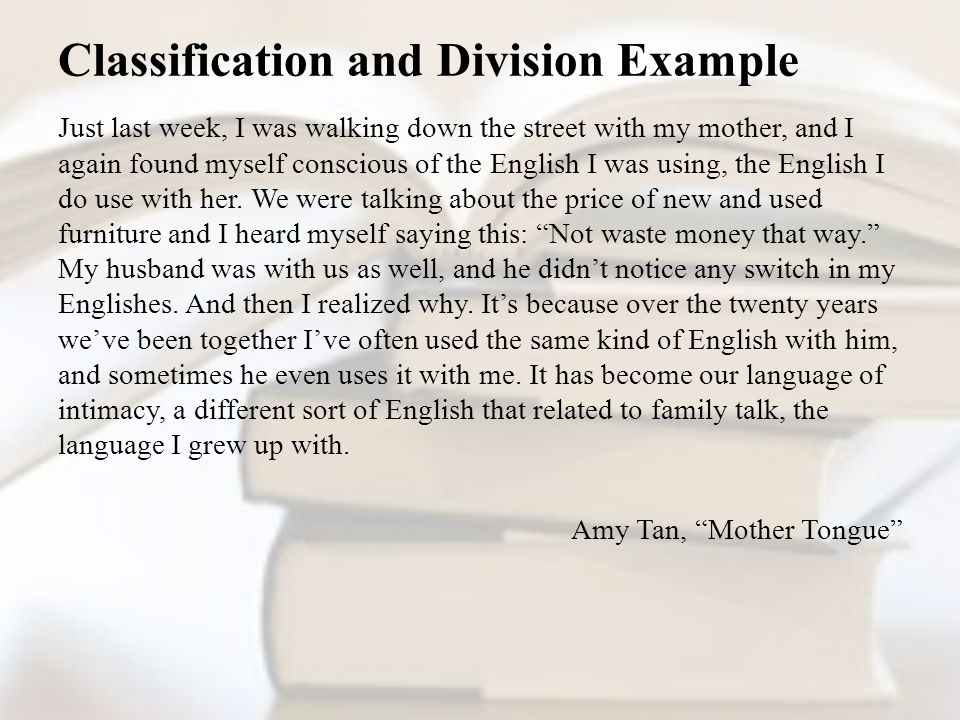 Example Of Classification And Division Essay