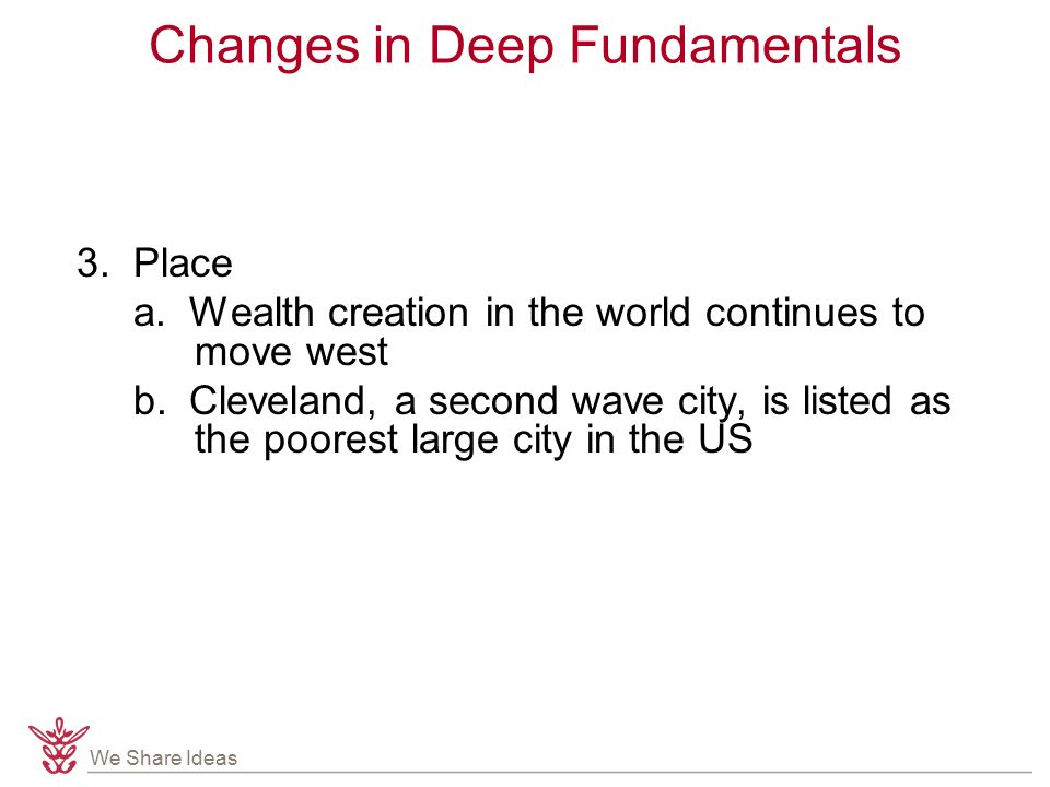 We Share Ideas Changes in Deep Fundamentals 3. Place a.
