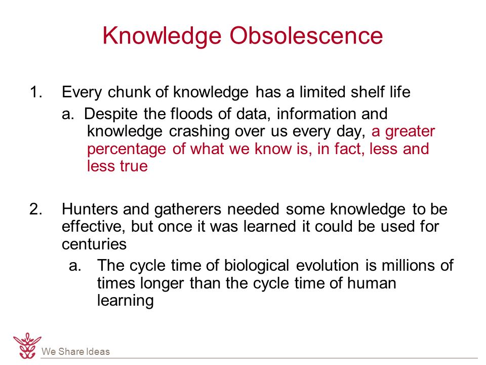 We Share Ideas Knowledge Obsolescence 1.Every chunk of knowledge has a limited shelf life a.