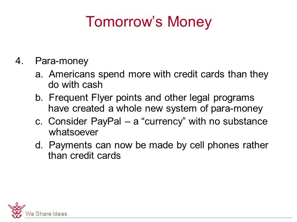 We Share Ideas Tomorrow's Money 4.Para-money a.