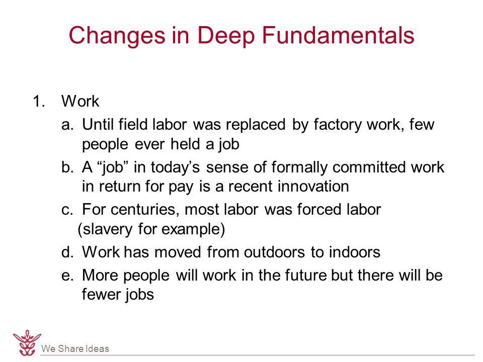 We Share Ideas Changes in Deep Fundamentals 1.Work a.
