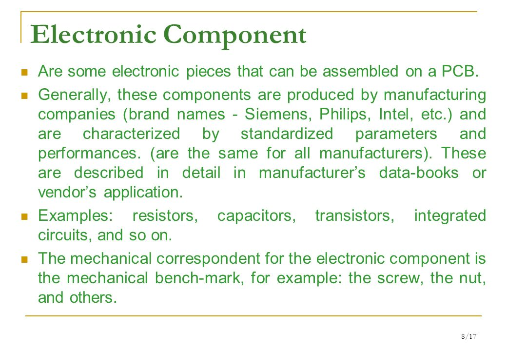 1/17 PASSIVE ELECTRONIC COMPONENTS AND CIRCUITS Lecture 1 ...
