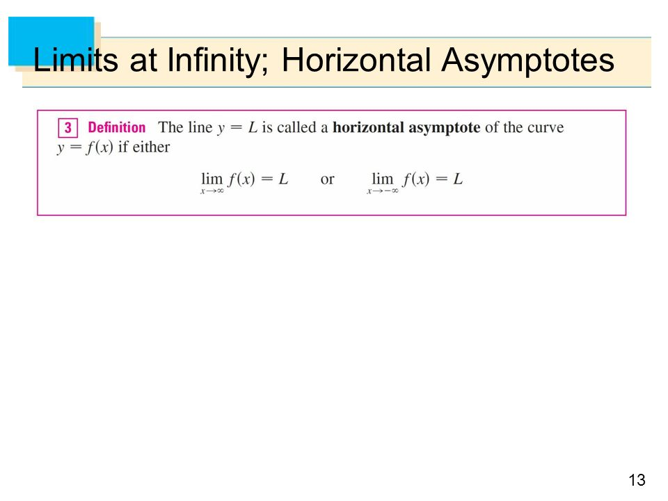 13 Limits at Infinity; Horizontal Asymptotes
