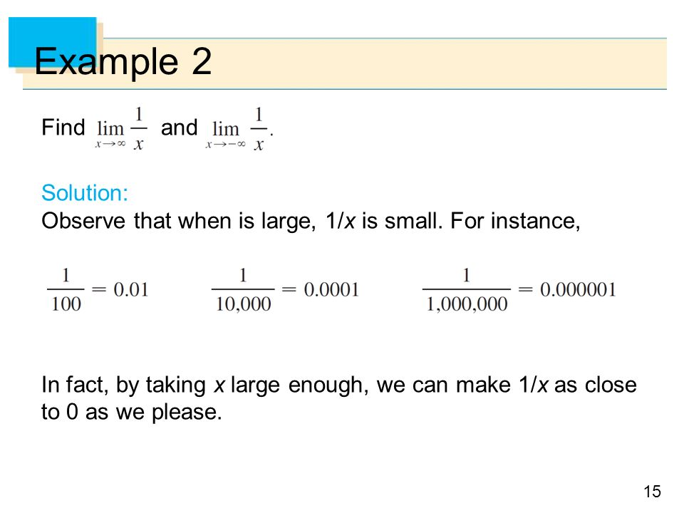 15 Example 2 Find and Solution: Observe that when is large, 1/x is small.