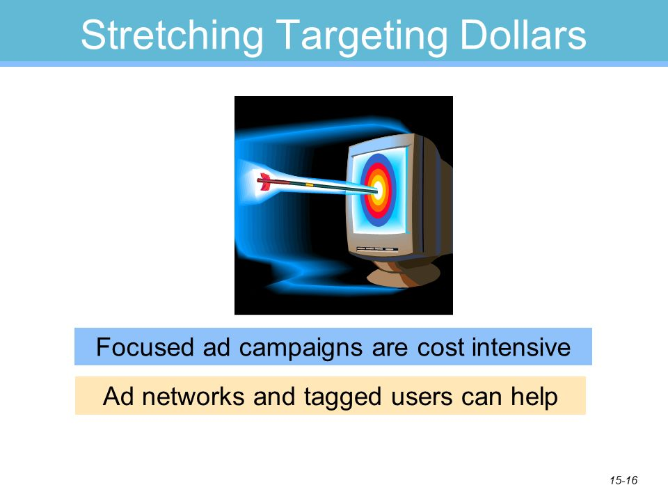 15-16 Stretching Targeting Dollars Focused ad campaigns are cost intensive Ad networks and tagged users can help
