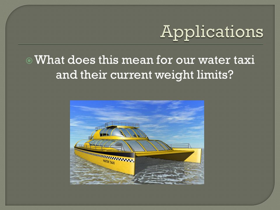  What does this mean for our water taxi and their current weight limits