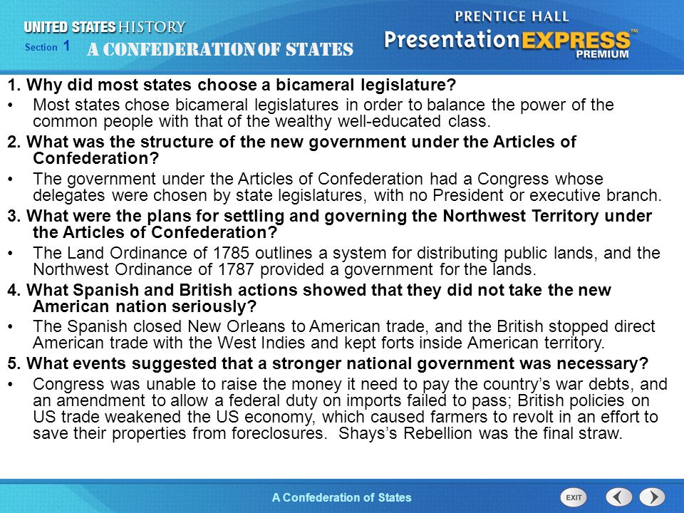 Chapter 25 Section 1 The Cold War Begins Section 1 A Confederation of States 1.