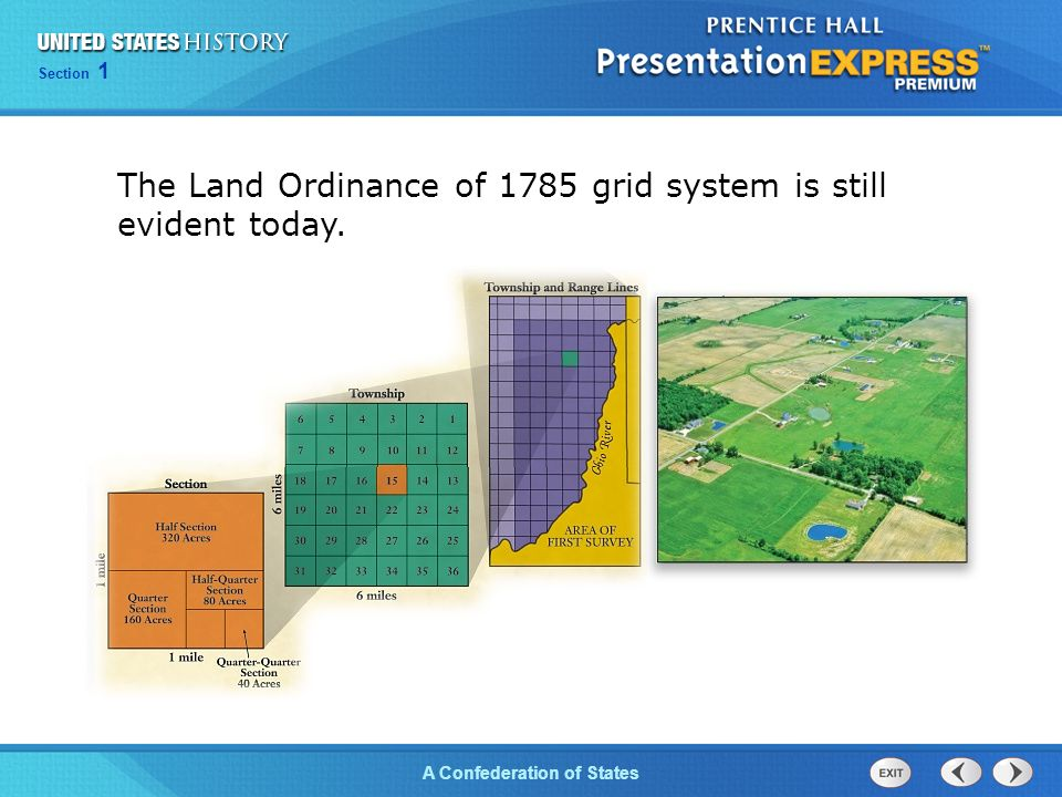 Chapter 25 Section 1 The Cold War Begins Section 1 A Confederation of States The Land Ordinance of 1785 grid system is still evident today.