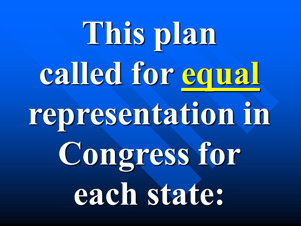 This plan called for equal representation in Congress for each state: