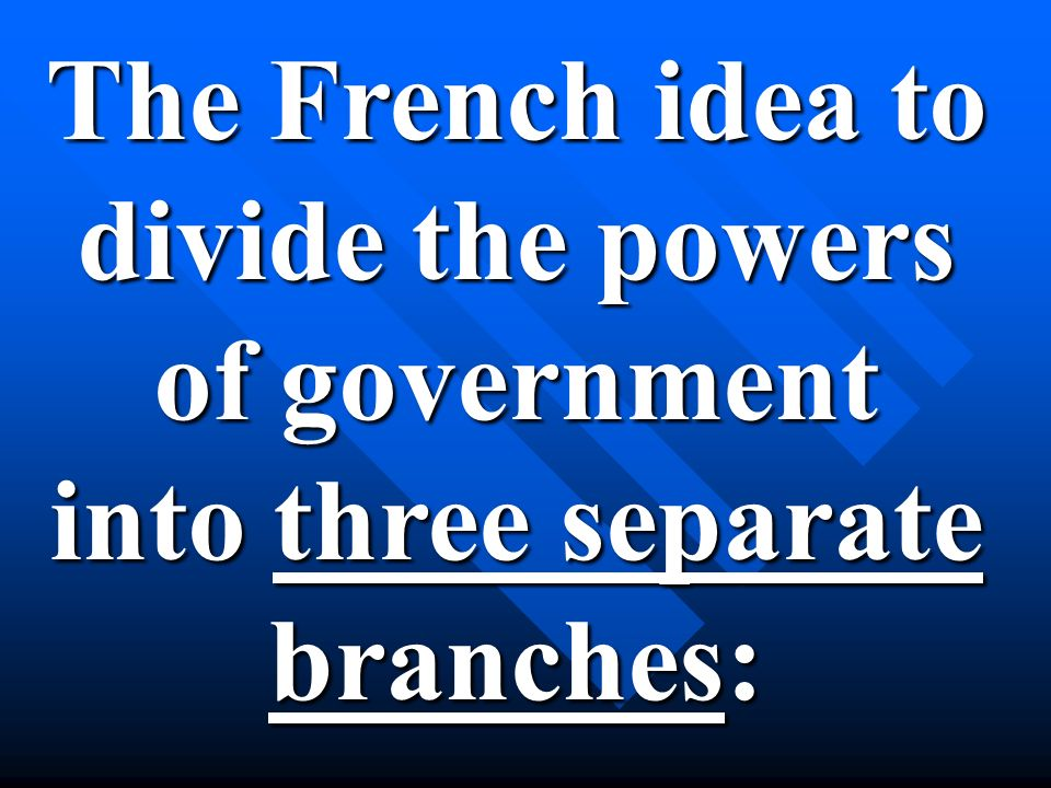 The French idea to divide the powers of government into three separate branches: