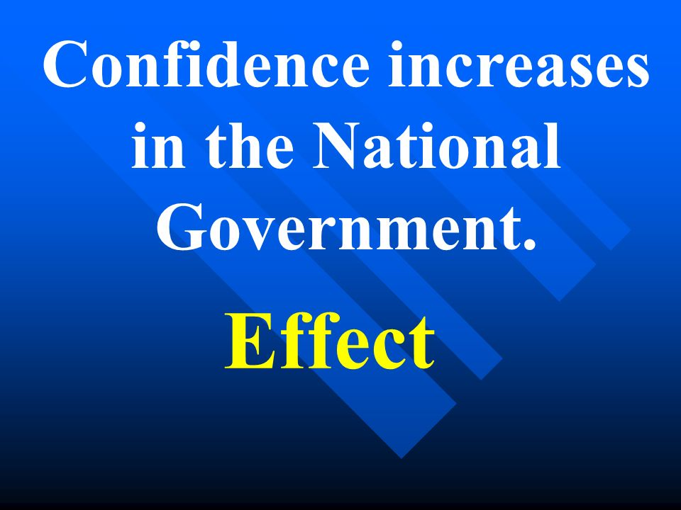 Confidence increases in the National Government. Effect