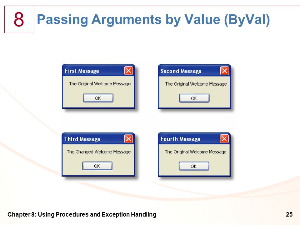 8 Chapter 8: Using Procedures and Exception Handling25 Passing Arguments by Value (ByVal)