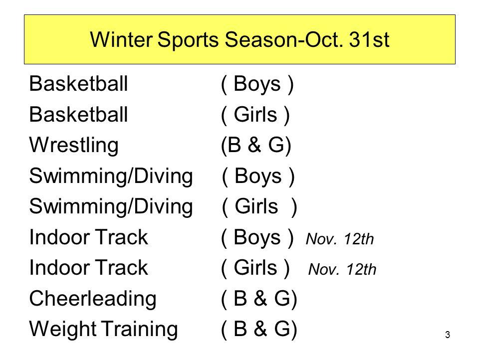 Winter Sports Season-Oct.