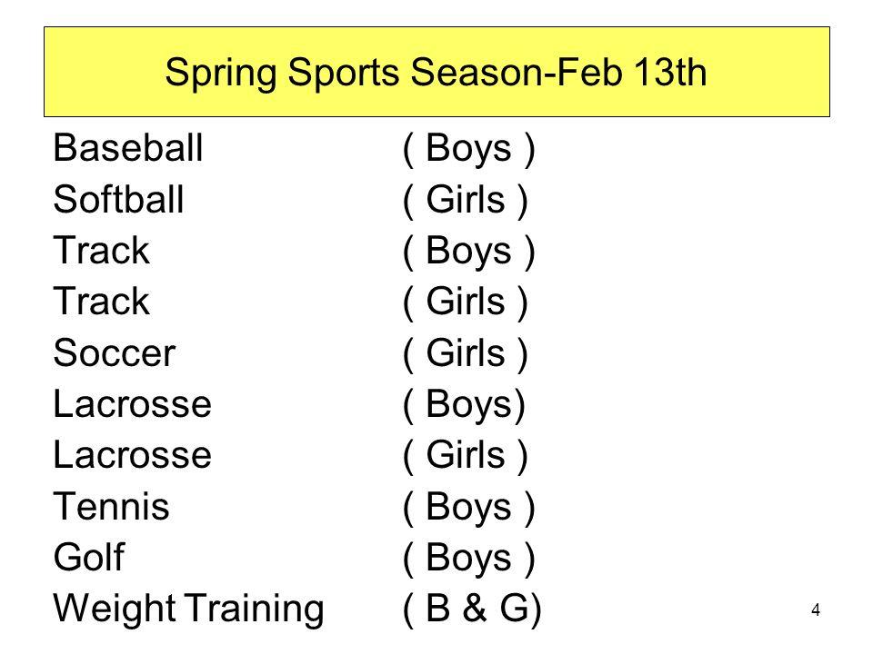 Spring Sports Season-Feb 13th Baseball ( Boys ) Softball ( Girls ) Track ( Boys ) Track ( Girls ) Soccer ( Girls ) Lacrosse ( Boys) Lacrosse ( Girls ) Tennis ( Boys ) Golf ( Boys ) Weight Training( B & G) 4