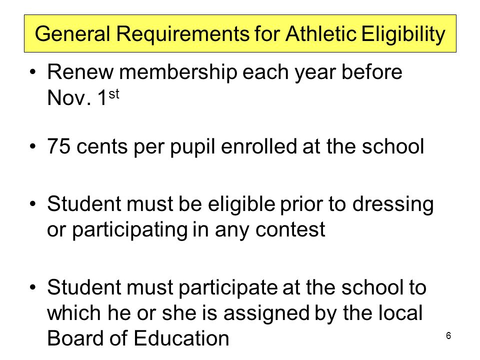 General Requirements for Athletic Eligibility Renew membership each year before Nov.