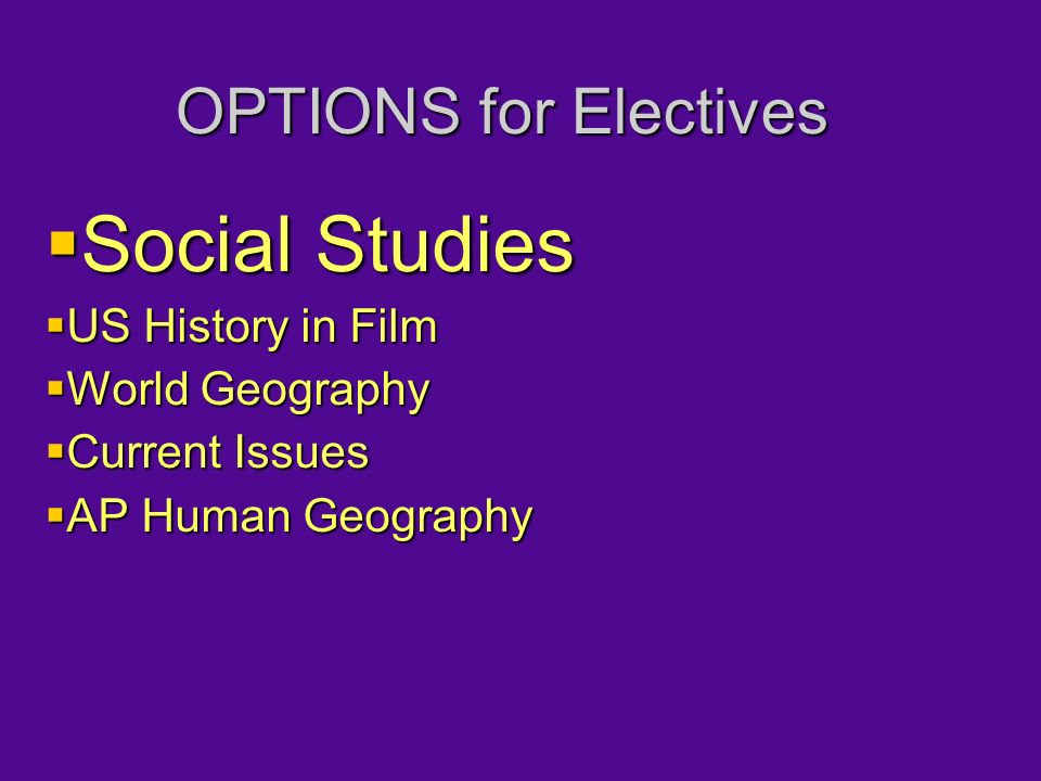 OPTIONS for Electives  Social Studies  US History in Film  World Geography  Current Issues  AP Human Geography