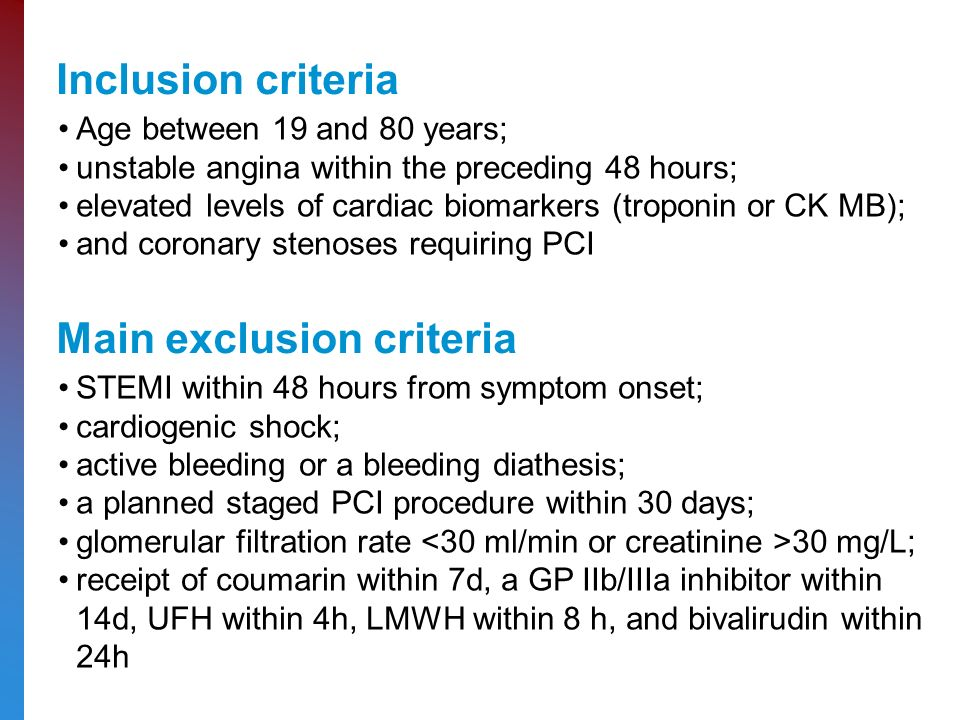Inclusion criteria Age between 19 and 80 years; unstable angina within the preceding 48 hours; elevated levels of cardiac biomarkers (troponin or CK MB); and coronary stenoses requiring PCI Main exclusion criteria STEMI within 48 hours from symptom onset; cardiogenic shock; active bleeding or a bleeding diathesis; a planned staged PCI procedure within 30 days; glomerular filtration rate 30 mg/L; receipt of coumarin within 7d, a GP IIb/IIIa inhibitor within 14d, UFH within 4h, LMWH within 8 h, and bivalirudin within 24h