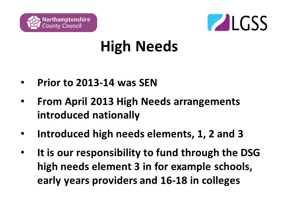 High Needs Prior to was SEN From April 2013 High Needs arrangements introduced nationally Introduced high needs elements, 1, 2 and 3 It is our responsibility to fund through the DSG high needs element 3 in for example schools, early years providers and in colleges