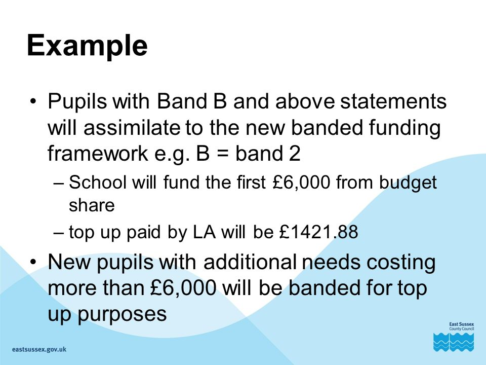 Example Pupils with Band B and above statements will assimilate to the new banded funding framework e.g.