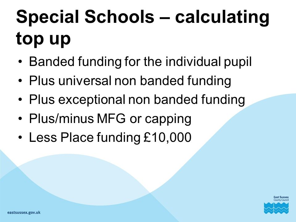 Special Schools – calculating top up Banded funding for the individual pupil Plus universal non banded funding Plus exceptional non banded funding Plus/minus MFG or capping Less Place funding £10,000