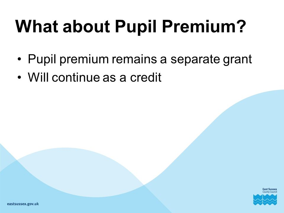 What about Pupil Premium Pupil premium remains a separate grant Will continue as a credit