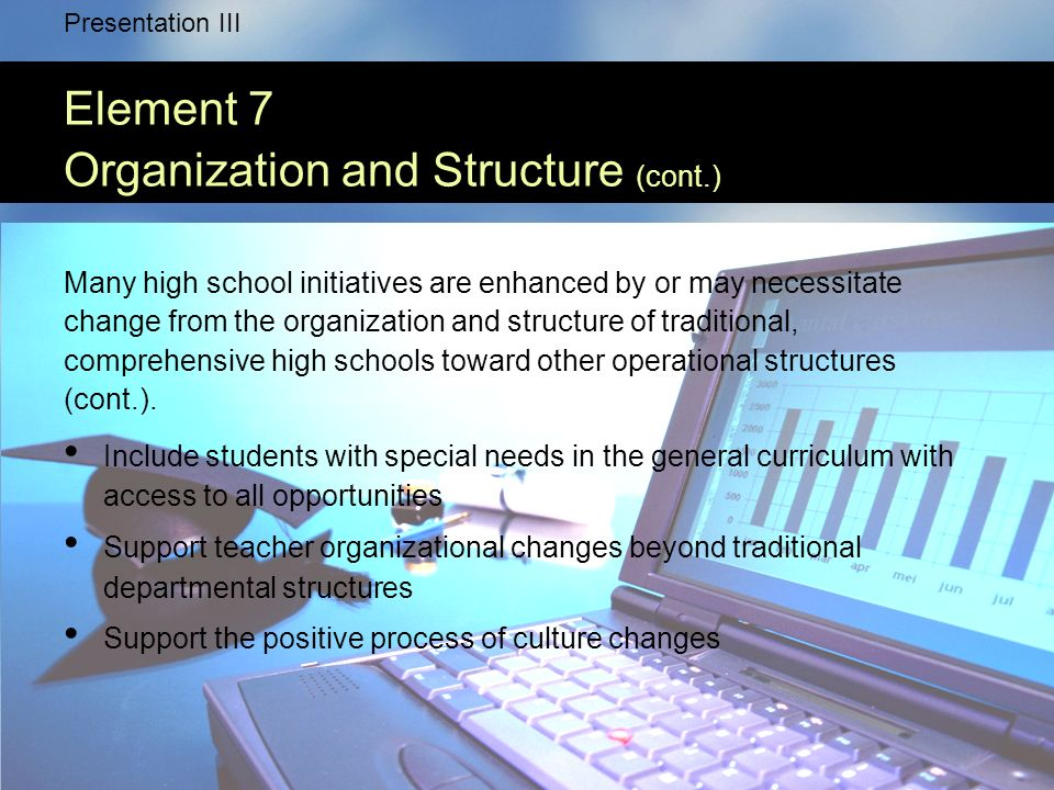 Presentation III Element 7 Organization and Structure (cont.) Many high school initiatives are enhanced by or may necessitate change from the organization and structure of traditional, comprehensive high schools toward other operational structures (cont.).