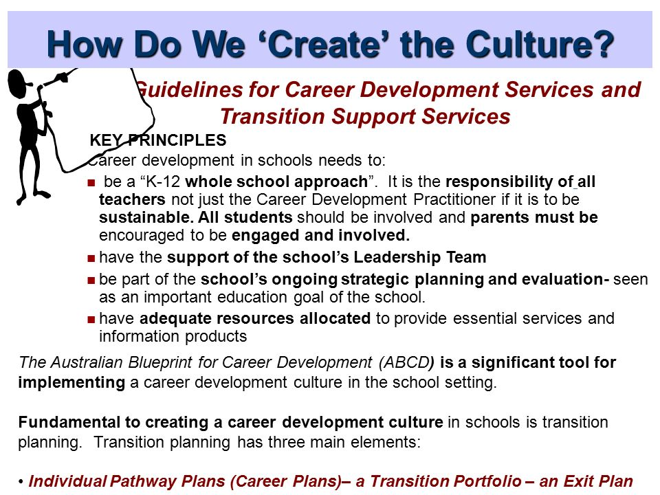 Promoting and creating a k 12 career development culture in schools wa guidelines for career development services and transition support services career development in schools needs to malvernweather Image collections