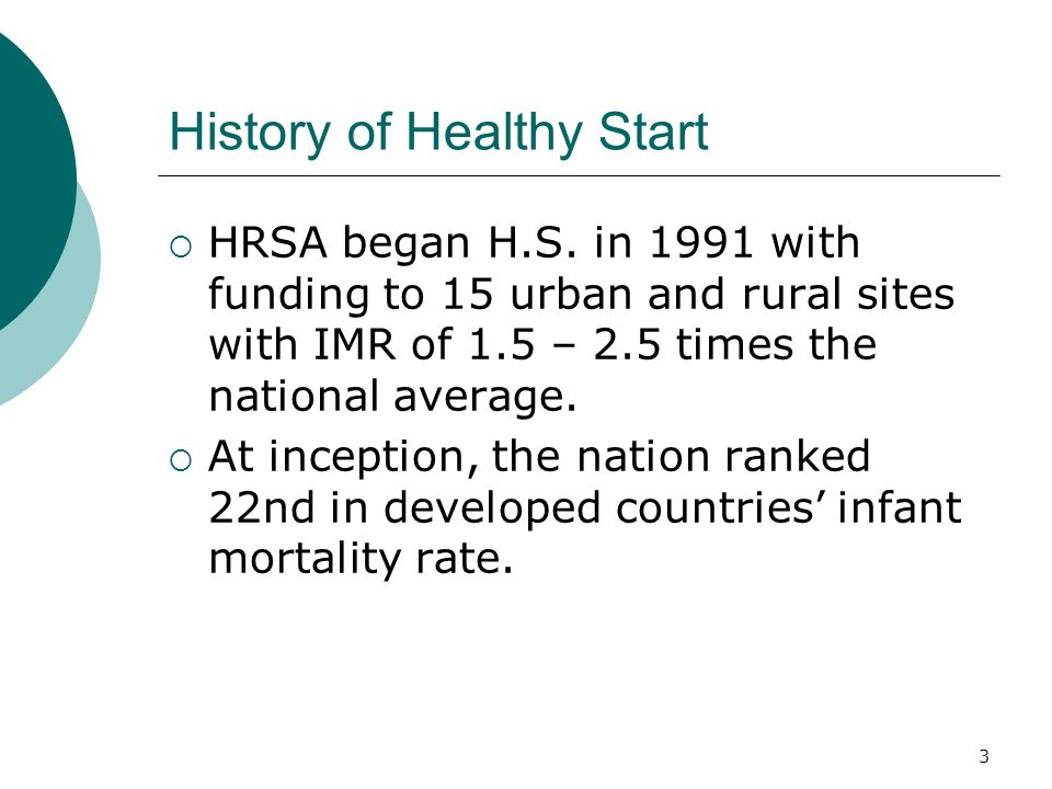 3 History of Healthy Start  HRSA began H.S.