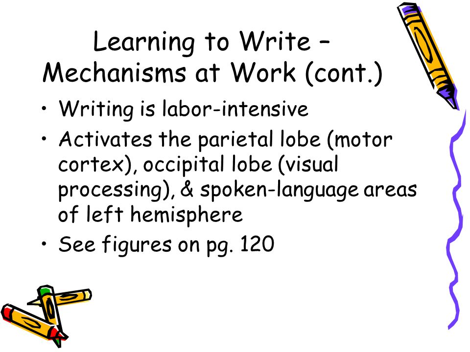 Learning to Write – Mechanisms at Work (cont.) Writing is labor-intensive Activates the parietal lobe (motor cortex), occipital lobe (visual processing), & spoken-language areas of left hemisphere See figures on pg.