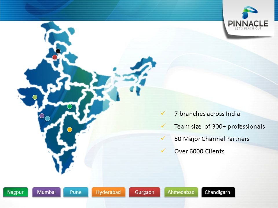 Mumbai Pune Gurgaon Ahmedabad Hyderabad 7 branches across India Team size of 300+ professionals 50 Major Channel Partners Over 6000 Clients Nagpur Chandigarh