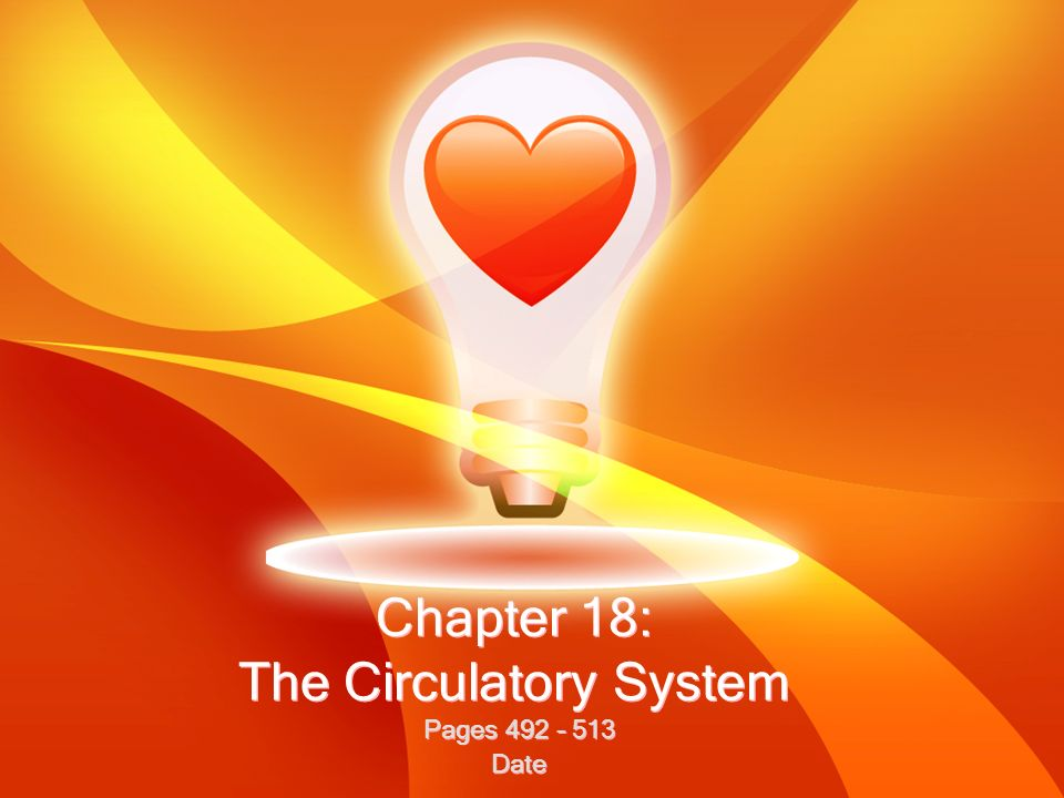 Chapter 18: The Circulatory System Pages 492 – 513 Date Pages 492 – 513 Date