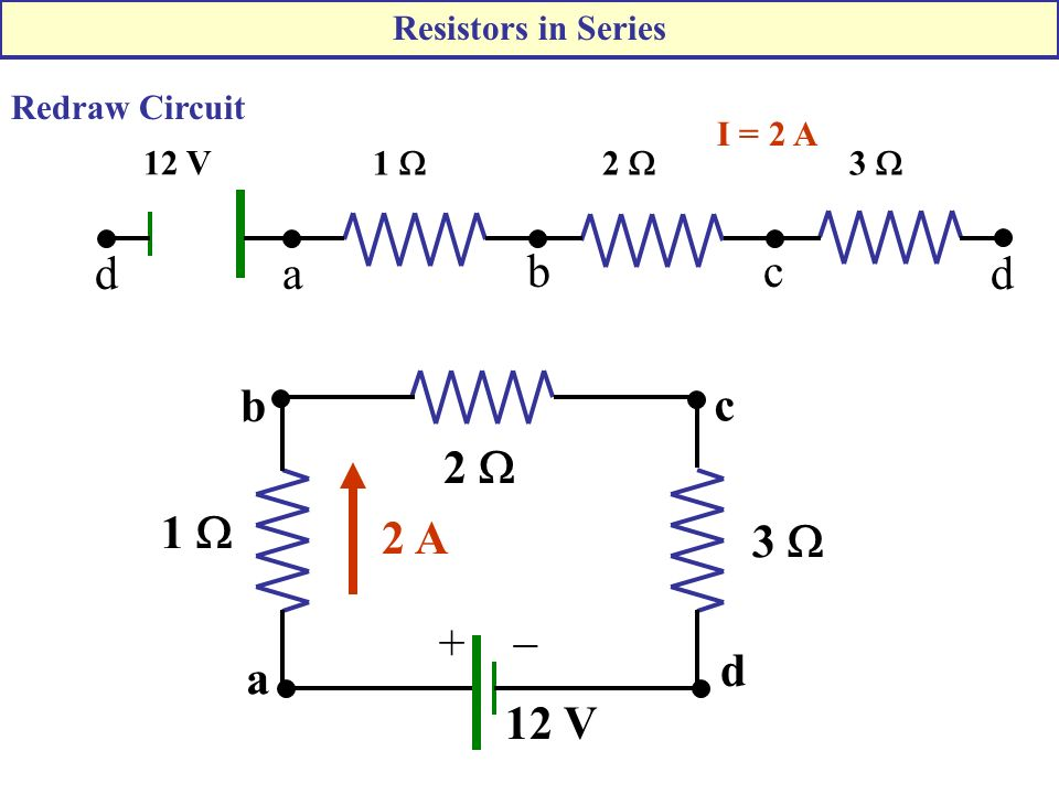 2  1  3  12 V I = 2 A a bc dd 12 V 1  2  3  +  2 A a b c d Redraw Circuit Resistors in Series