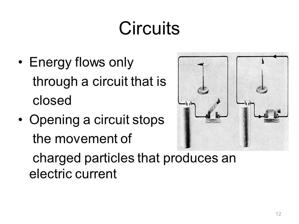 Circuits Energy flows only through a circuit that is closed Opening a circuit stops the movement of charged particles that produces an electric current 12