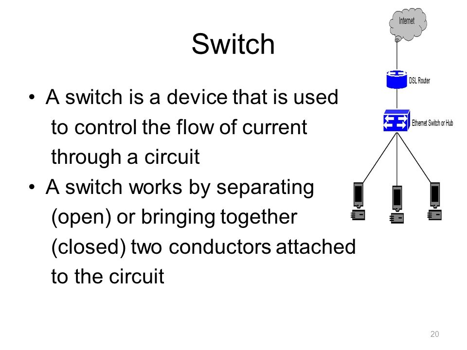 Switch A switch is a device that is used to control the flow of current through a circuit A switch works by separating (open) or bringing together (closed) two conductors attached to the circuit 20