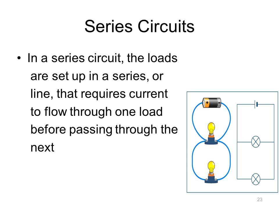 Series Circuits In a series circuit, the loads are set up in a series, or line, that requires current to flow through one load before passing through the next 23