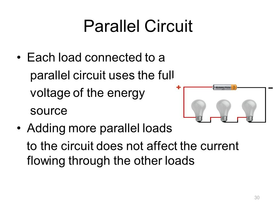 Parallel Circuit Each load connected to a parallel circuit uses the full voltage of the energy source Adding more parallel loads to the circuit does not affect the current flowing through the other loads 30