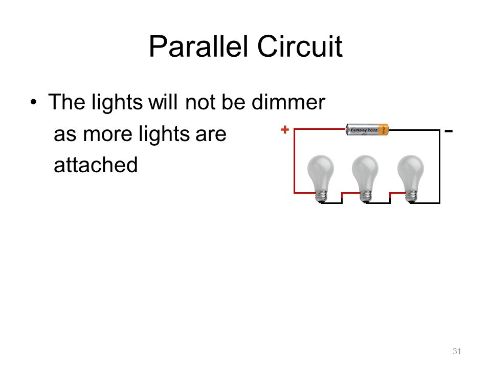 Parallel Circuit The lights will not be dimmer as more lights are attached 31